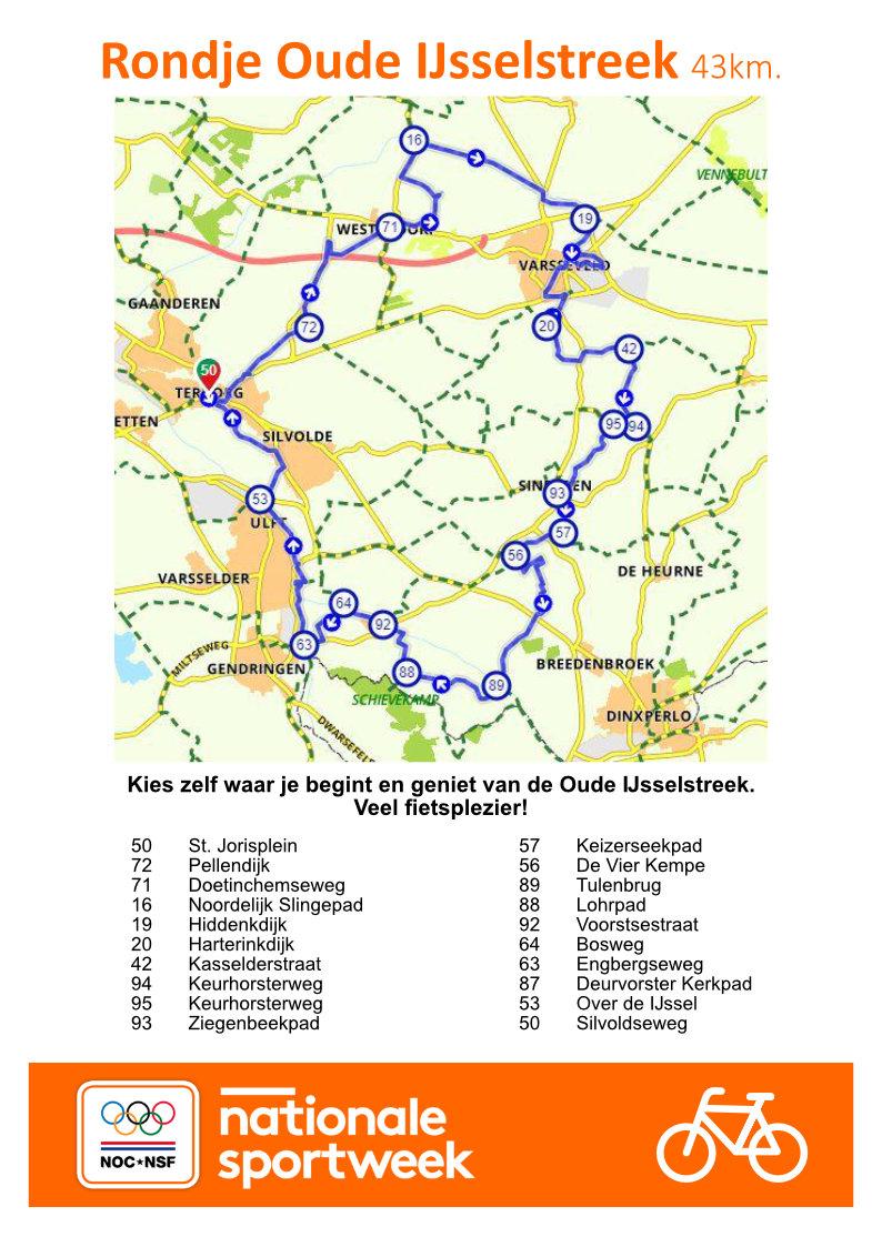 Fietsroute Oude IJsselstreek Nationale Sportweek