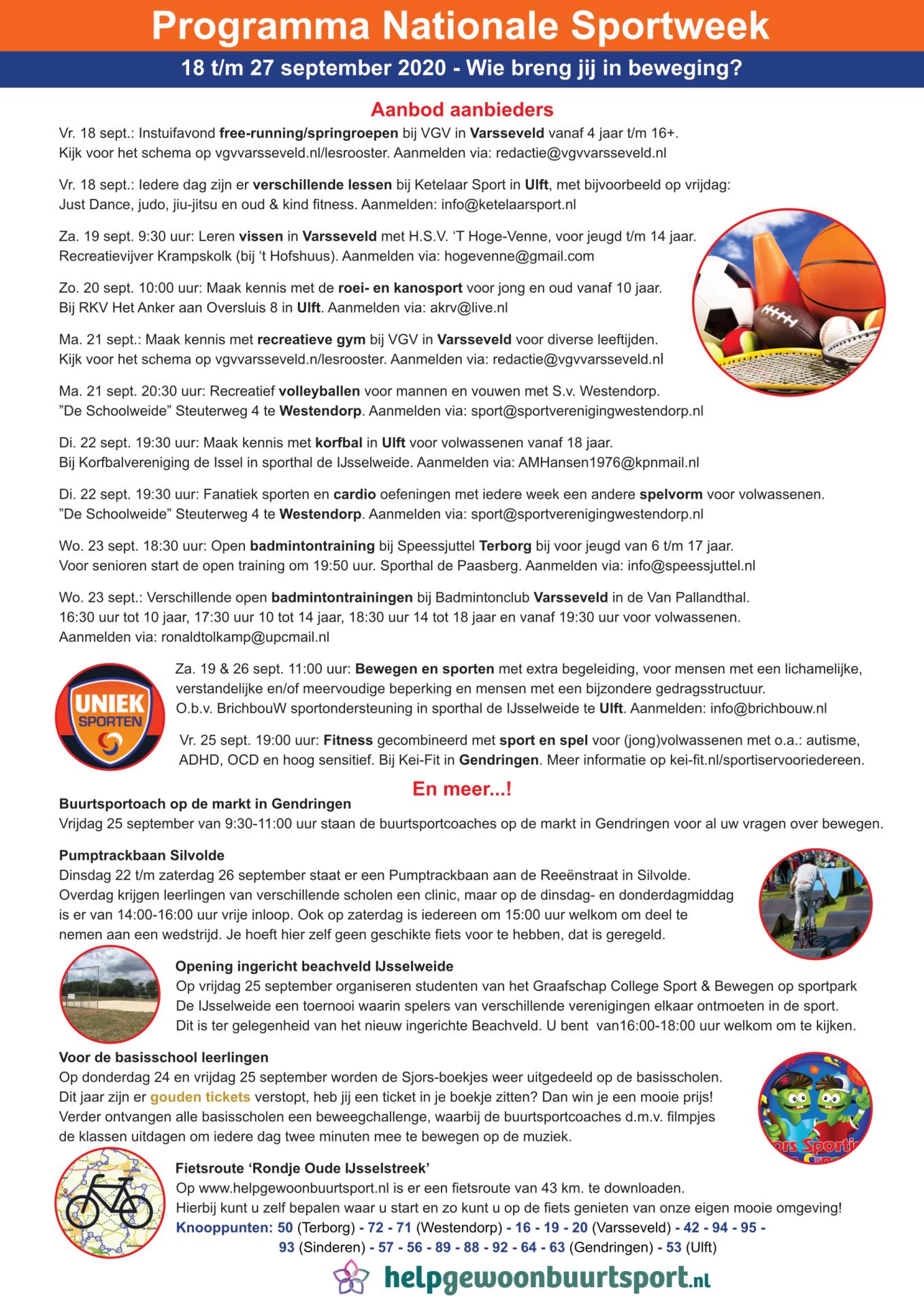 Nationale Sportweek Oude IJsselstreek programma 2020